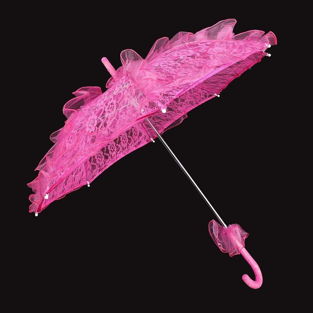 Parapluie en Dentelle de Coton pour la f/ête de Mariage Leinggg Parapluie en Dentelle Couleur : Rose