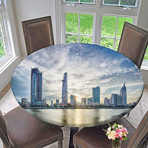 Chateau Easy-Care Cloth Tablecloth chi Minh City Viet NAM jul Sunset Over Downtown Saigon for Home, Party, Wedding 31.5