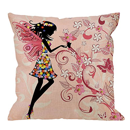 Pink Butterfly Throw Pillow Covers by HGOD DESIGNS - Girl With Pink Wing Elves And Butterflies Cotton Linen Square Cushion Cover Pillowcase for Women Girls Home Decorative 18 x 18 inch