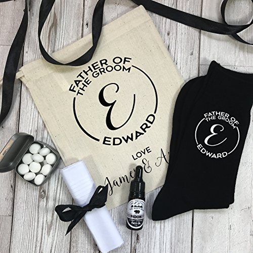 Of Father Oil The Bag Monogram Face Mints Socks Handkerchief With Gift Groom Wedding Personalised Set BPw1xw