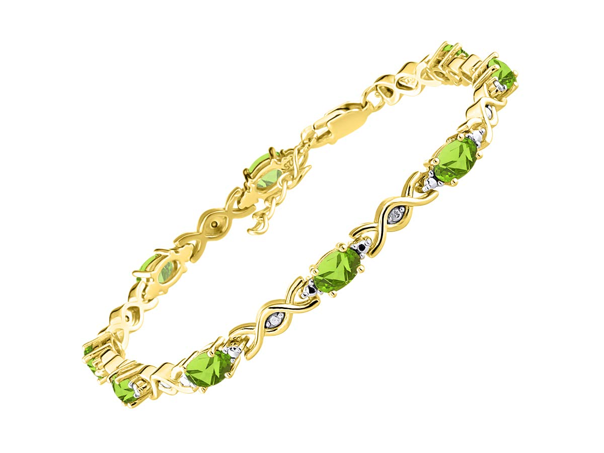 Stunning Peridot & Diamond S XOXO Hugs & Kisses Tennis Bracelet Set in Yellow Gold Plated Silver - Adjustable to fit 7'' - 8'' Wrist