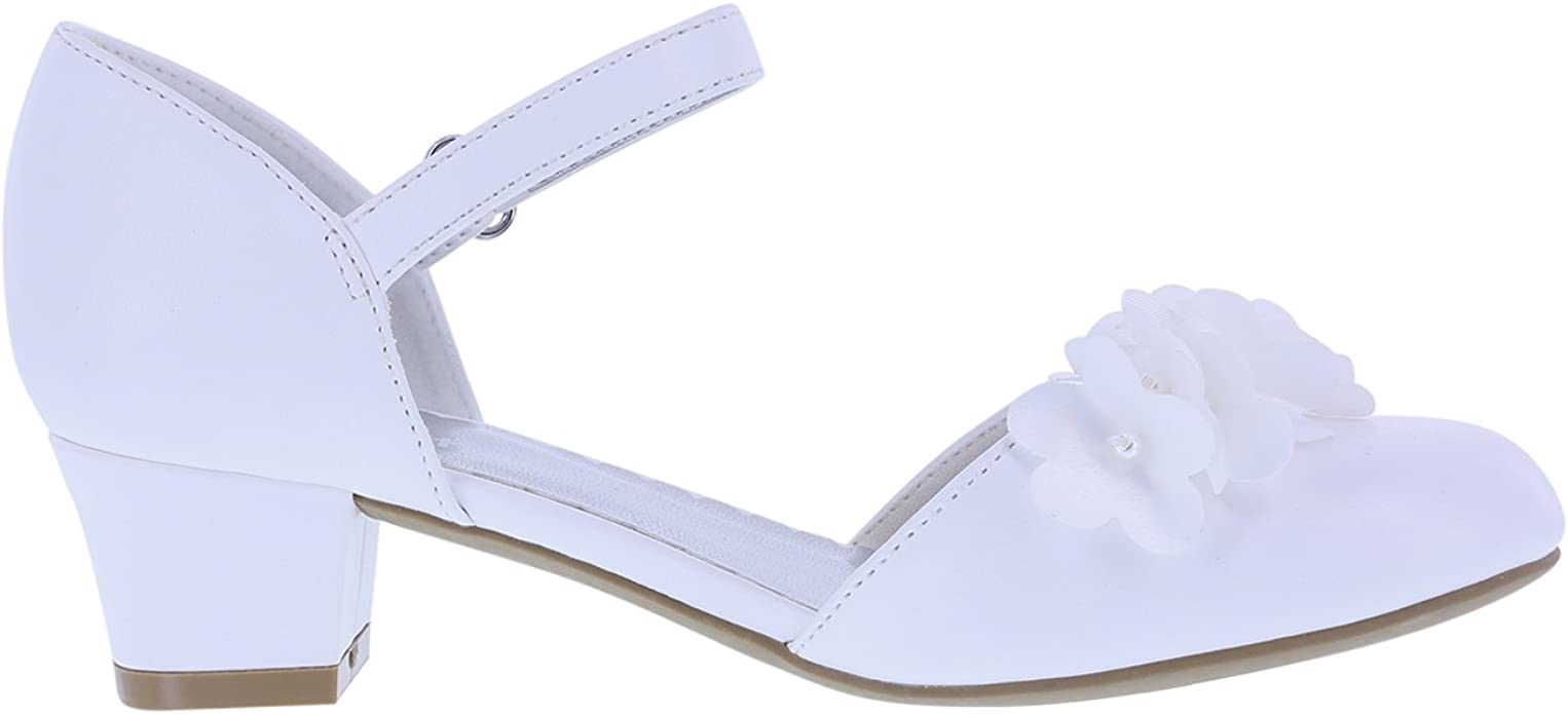 Smartfit Toddler Girls Cici Dress Shoes White Floral Kitten Heel Ankle Strap NEW