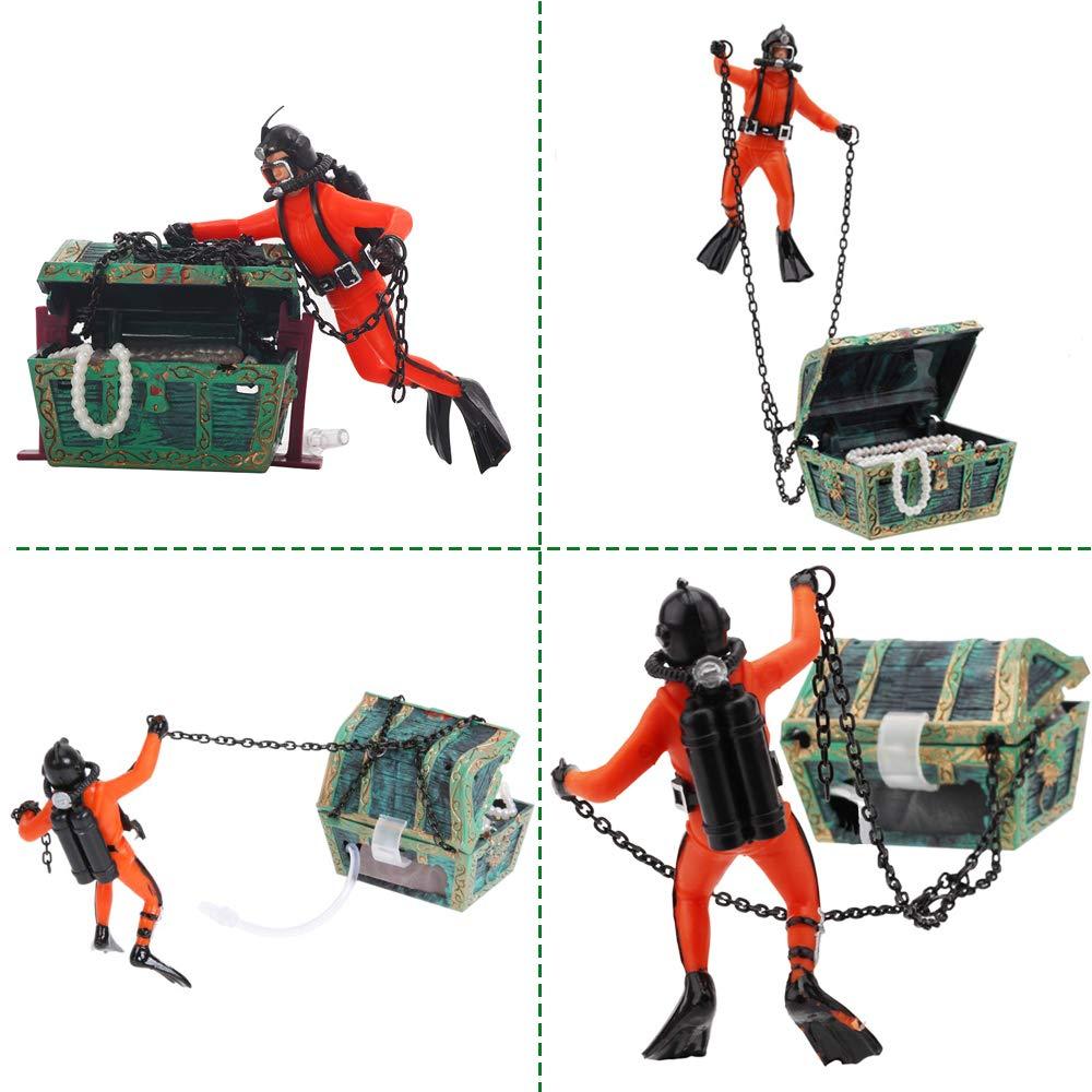 Yakamoz Cazador de Tesoro acción del Buceador Acuario Décor Paisaje Resina Mini Adorno Submarino para Acuario Naranja: Amazon.es: Productos para mascotas