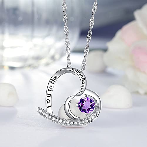 Natural Amethyst Gemstone Necklace I Love You to the Moon and Back Heart Moon Pendant Sterling Silver Jewelry Gift for Women Christmas Birthday Anniversary