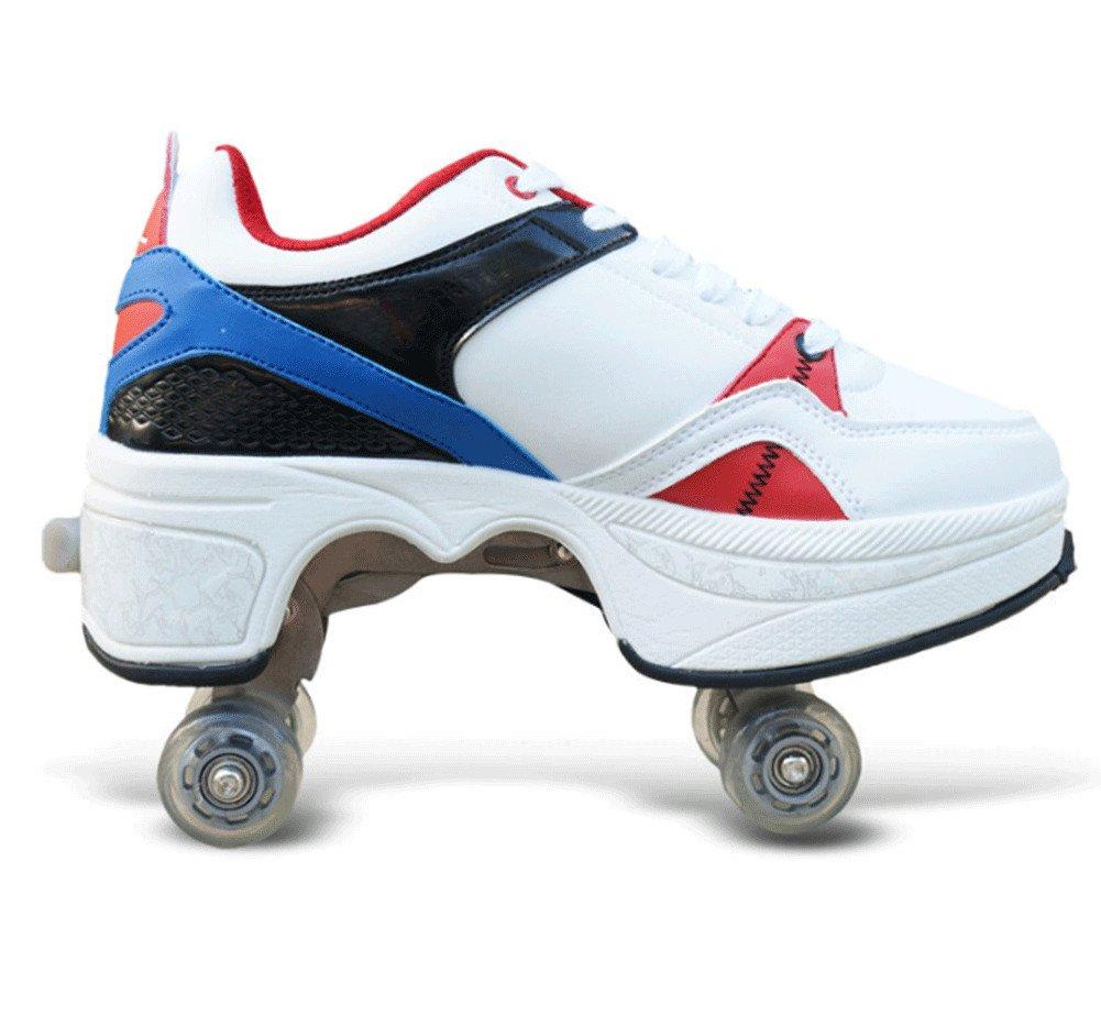 QINAIDI Patines De Hielo Polea Zapatos De Deformación Multifuncional Patinaje sobre Ruedas De Patinaje Cuádruple Deportes Al Aire Libre para Adultos,C,40: ...