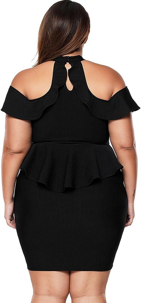 Women's Plus Size Cold Shoulder Peplum Dress