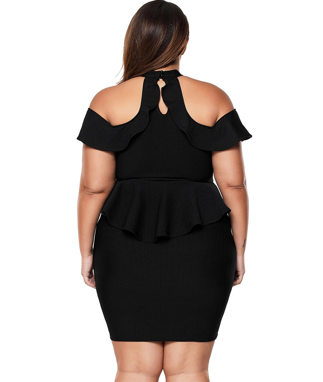 Lalagen Women\'s Plus Size Cold Shoulder Peplum Dress Bodycon Party Dress  Black XXL