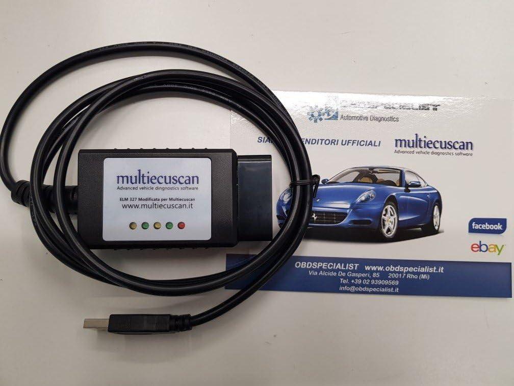 Fiatecuscan 2.1 OBD2 CAN Originalkomponente Multiecuscan ELM 327 f/ür Fahrzeugdiagnose