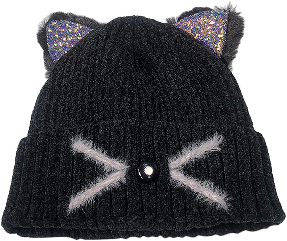 Gusspower Sombrero de Mujer Multicolor Gato Cara Sonriente Oreja ...