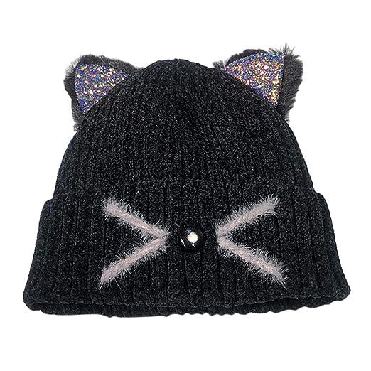 568d844c43f Womens Knit Hats Cat Ears Hats Warm Crochet Beanies Wool Winter Cute Skull  Cap (Black