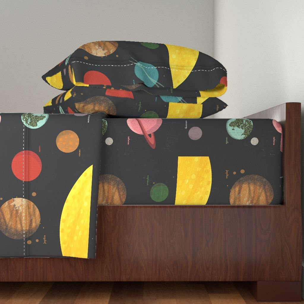 Roostery Solar System 3pc Sheet Set Solar System//Planets Wall Hanging 1 Fq Planets Fabric by Andrea Lauren Twin Sheet Set made with