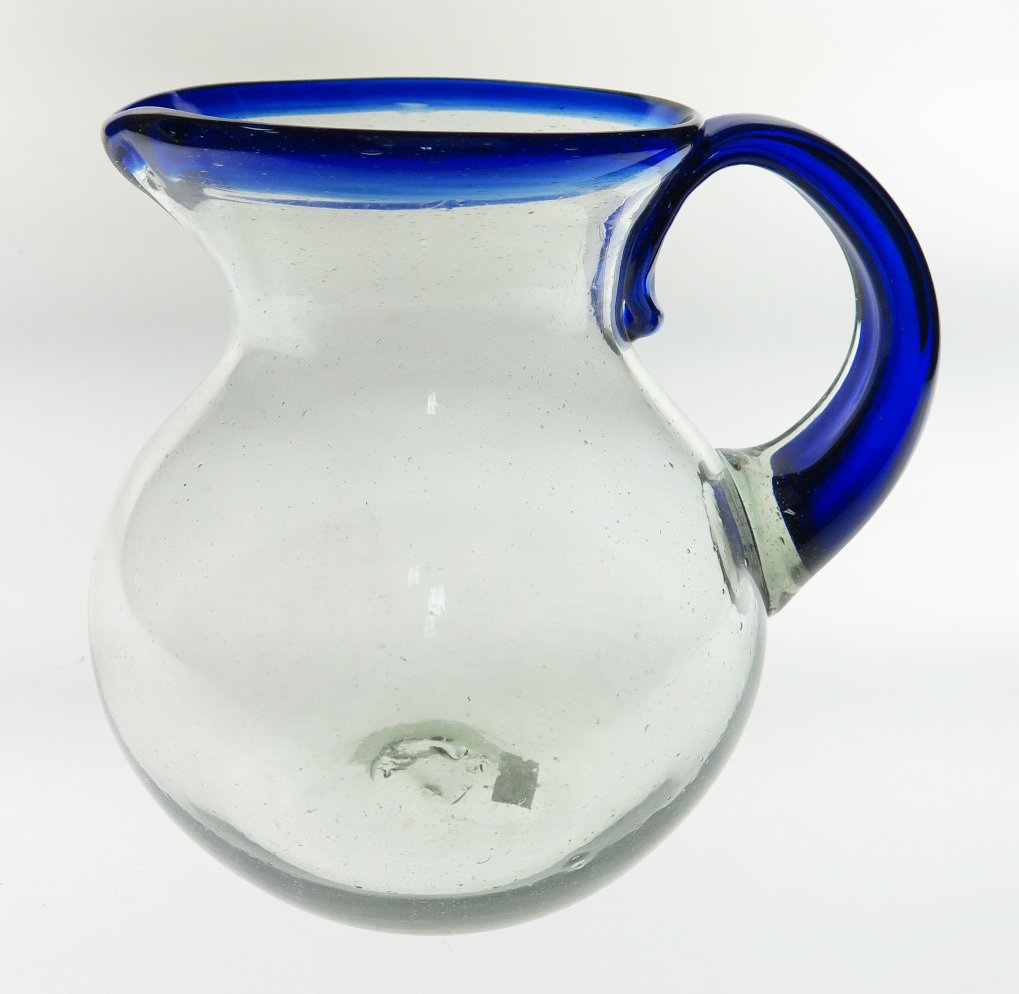 Mexican Glass Margarita or Juice Pitcher, Blue Rim, Bola or Bowl Shape 2+ Quarts