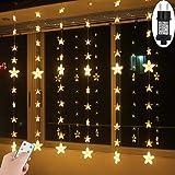 led lichtervorhang sterne warmwei mit fernbedienung weihnachtsbeleuchtung innen fenster f r. Black Bedroom Furniture Sets. Home Design Ideas