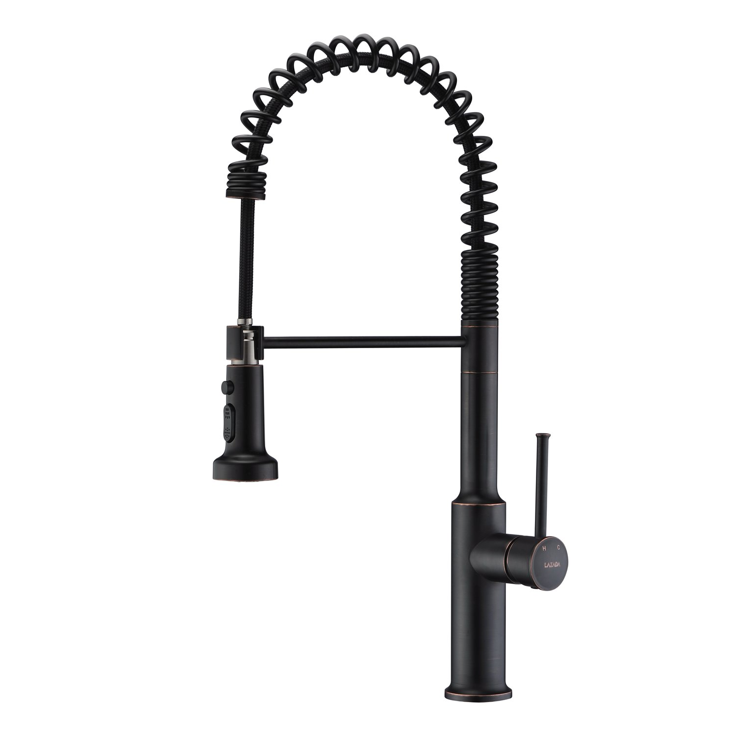 LAZADA Commercial Style Lead Free Spring Kitchen Faucet, Oil Rubbed Bronze Single Handle Pull Out Sprayer Sturdy Kitchen Sink Faucets