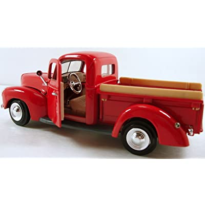 "unbrand MotorMax 1940 Ford Pickup Truck 1:24 Scale 8"" diecast Model car Red M48 NKS: Toys & Games"