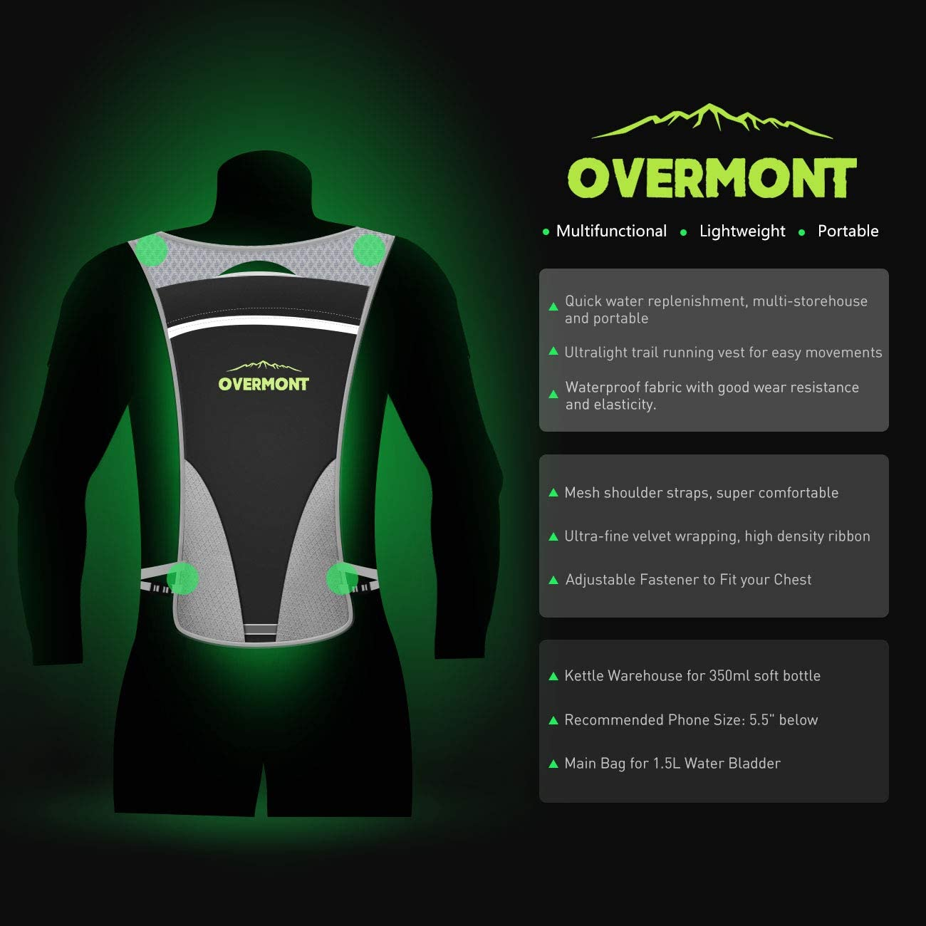 Overmont Hydratation Pack Running Débardeur Léger marathonien formation Randonnée...