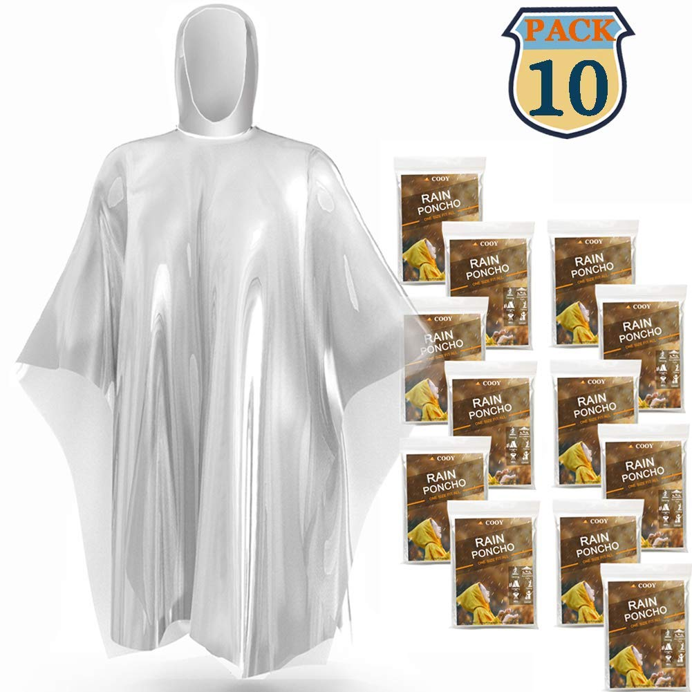 COOY Disposable Rain Ponchos,with Hood (10 Pack) Emergency Rain Ponchos Family Pack for Adults,Fit Men and Women, Perfect for Disneyland,Clear