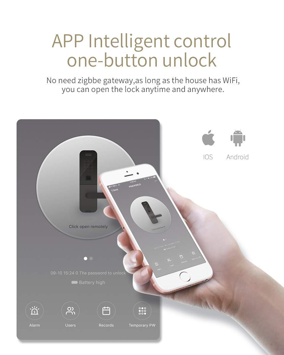 Security Intelligent Lock With WiFi APP Password RFID Unlock,Door Lock PINEWORLD Biometric Fingerprint Lock BLACK /& LEFT OPENING