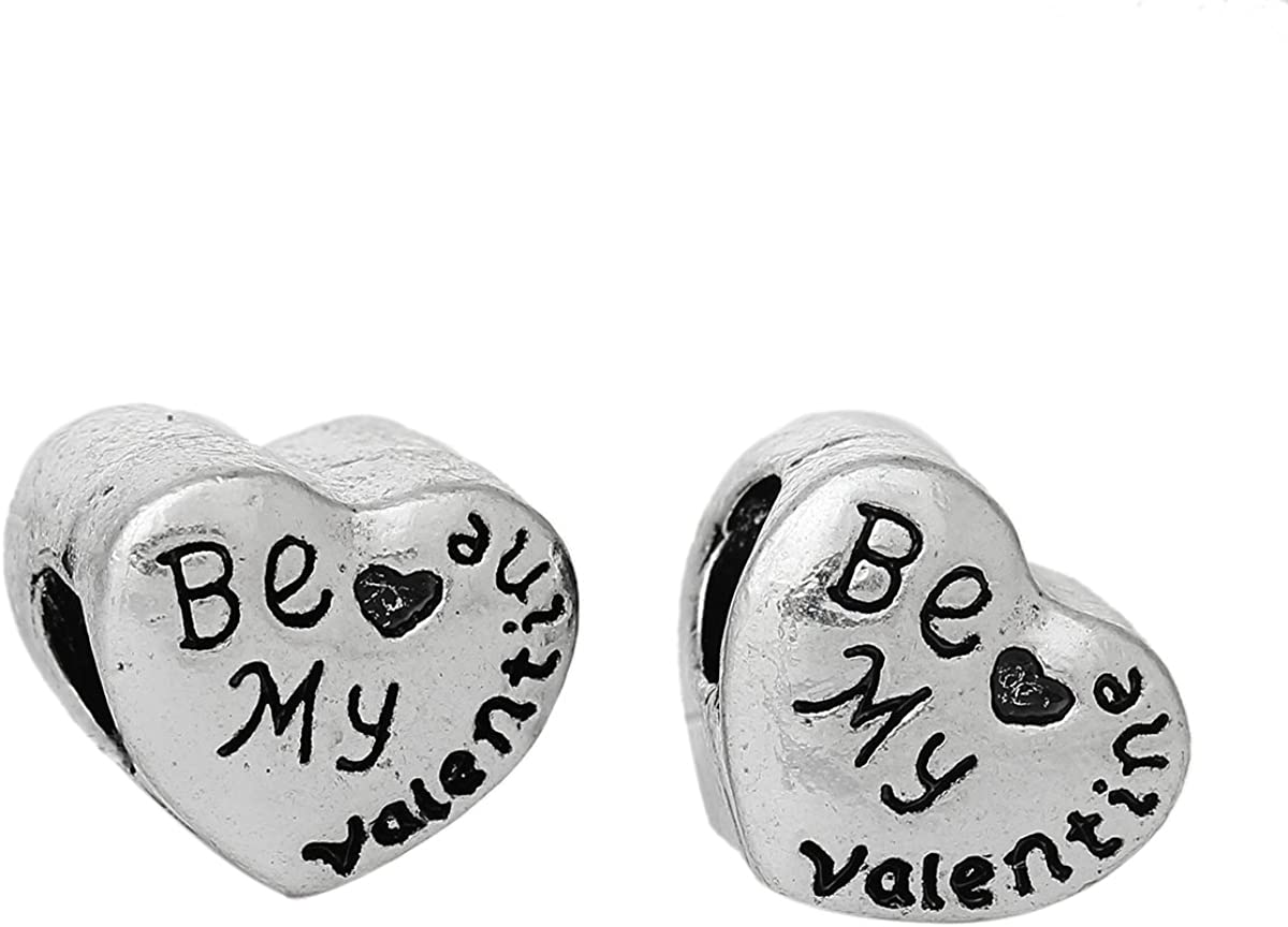 """/""""Be My Valentine Heart/"""" Charm Bead Spacer for Snake Chain Charm Bracelets"""