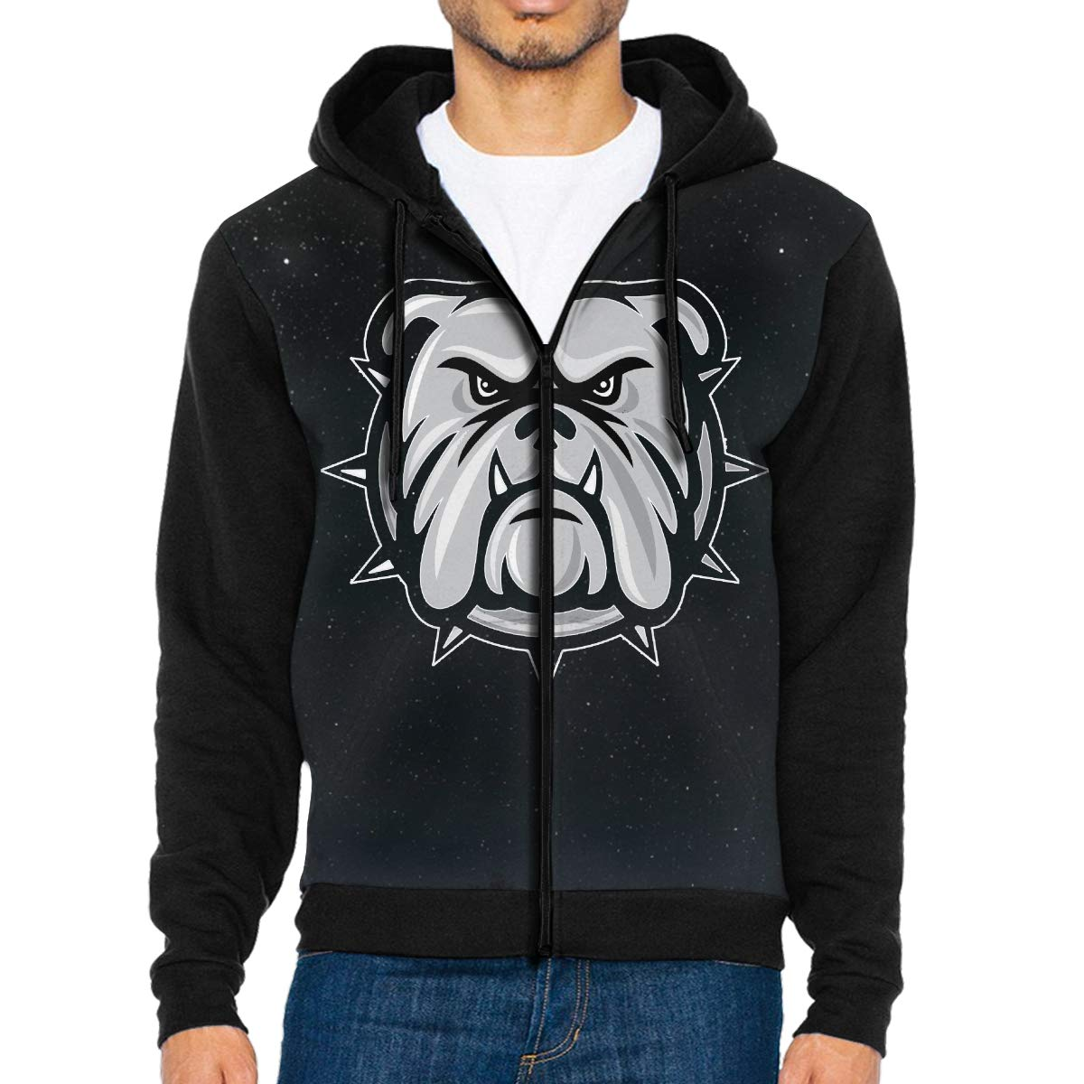 English Bulldog Mens Full-Zip Hoodie Jacket Pullover Sweatshirt