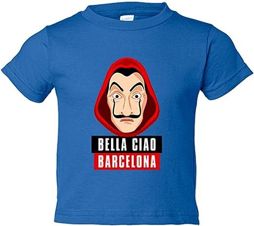 Camiseta niño Bella Ciao Máscara Dalí Barcelona - Azul Royal, 3-4 años: Amazon.es: Bebé
