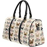 dedcd28719 InterestPrint Unisex Duffel Bag Carry-on Bag Overnight Bag Weekender Bag I  Love French Bulldog