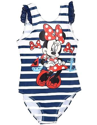 Minnie - Traje de una Pieza - para niña Blanc/Marine 6 años ...
