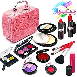 ROKKES Girls Pretend Play Makeup Toy - Pretend Makeup Case for Girls , Play Makeup Kit for Toddlers , Fake Makeup for Kids , Little Girls Make Up Play Set , Cosmetic Toys , Best Gifts for 3/4/5/6/7