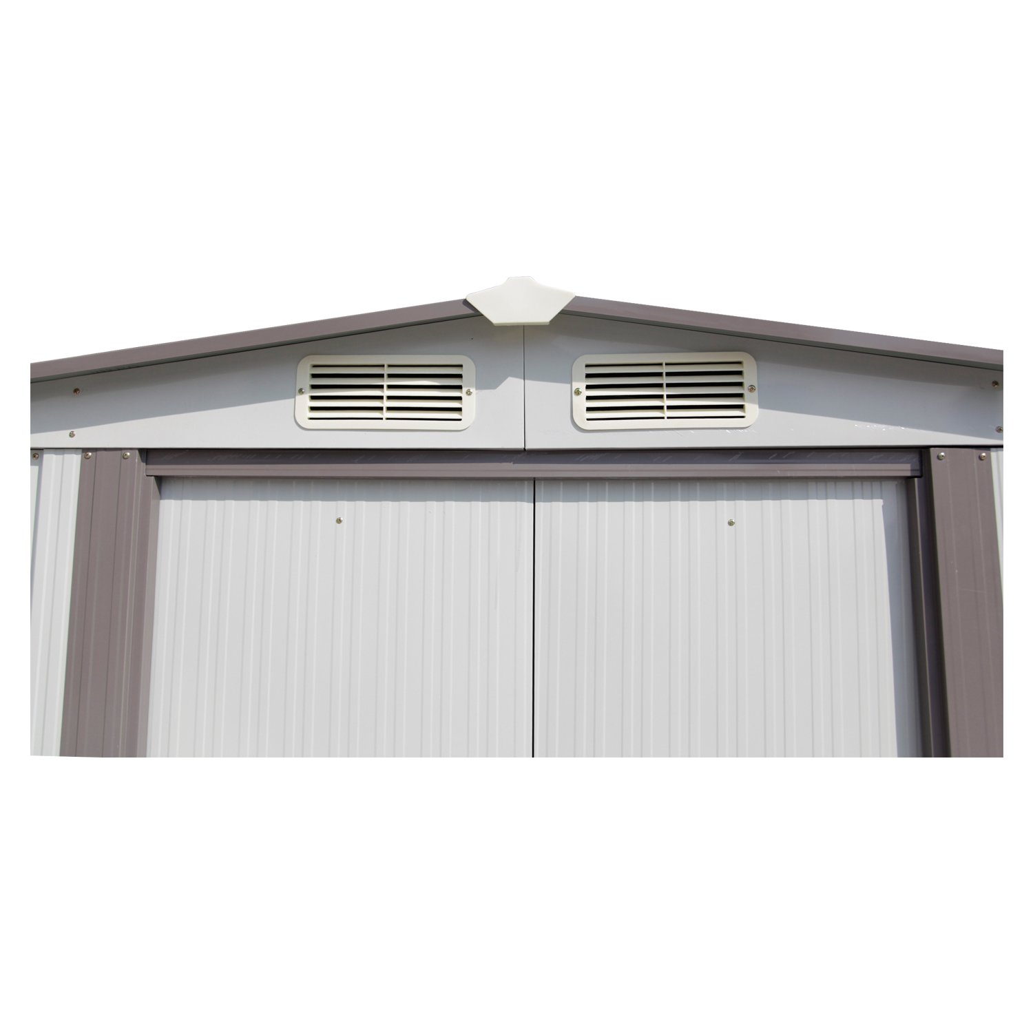 Kinbor New 8' x 6' Outdoor White Steel Garden Storage Utility Tool Shed Backyard Lawn Building Garage w/Sliding Door by Kinbor (Image #8)