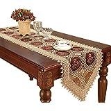 Vintage Gold Burgundy Lace Table Runner And Dresser Scarves Embroidered Floral 16*72 Inch