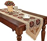 Simhomsen Vintage Gold Burgundy Lace Table Runner Dresser Scarves Embroidered Floral 16 × 72 inch