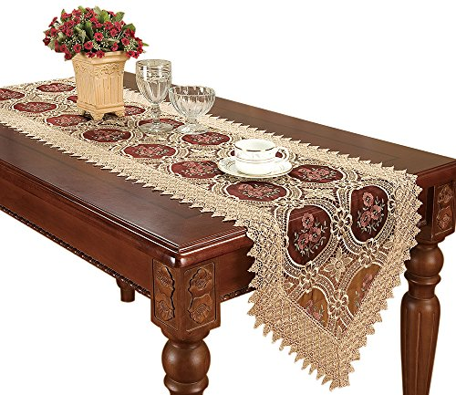 Simhomsen Vintage Gold Burgundy Lace Table Runner and Dresser Scarves Embroidered Floral 16 × 72 Inch (Runner Tabel)