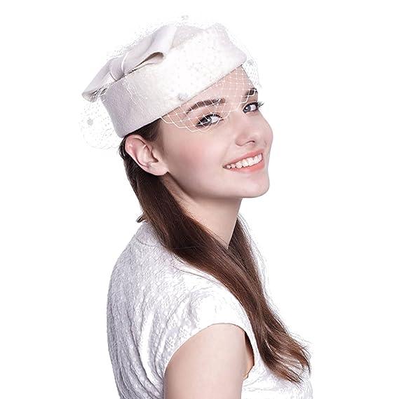 3520bc91b Aniwon Wool Pillbox Hat Wedding Fascinator Veil Hat for Women (White ...