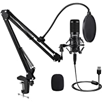 USB Condenser Microphone, IKEDON 192KHZ/24Bit Plug & Play PC Streaming Mic, USB Microphone Kit with Professional Sound…