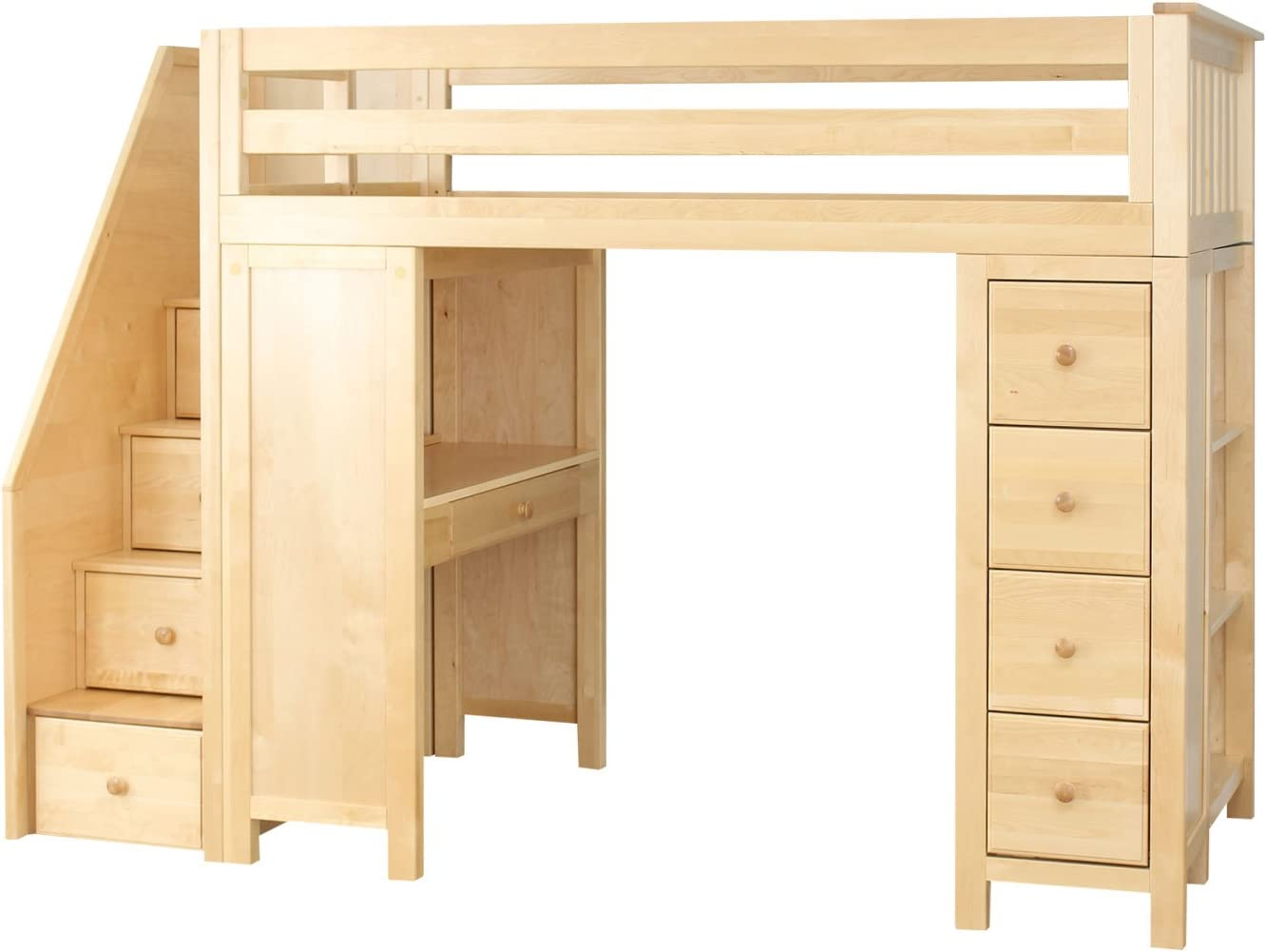 Amazon Com Plank Beam Staircase Combo Loft Bed Desk Dresser Natural Furniture Decor