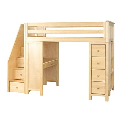 Plank & Beam Staircase Combo Loft Bed + Desk + Dresser, Natural