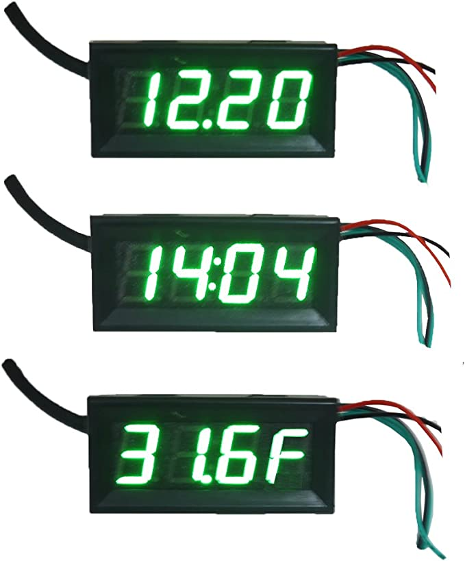 ROSEBEAR Car Thermometer Digital Electronic Clock Auto Vehicles Dual Temperature Voltmeter Gauge