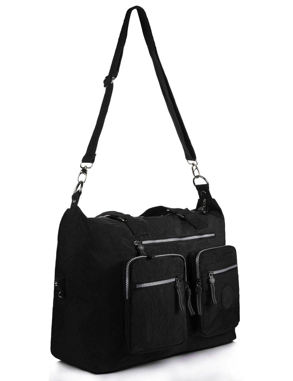 Nylon Travel Tote Large Weekender Bag(1212 Black)  Amazon.co.uk  Luggage c57e6c9aa73fb