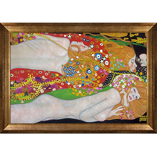 (La Pastiche KLG2999-FR-994624X36 Framed Oil Painting Water Serpents II Metallic Embellished by Gustav Klimt with Athenian Gold Frame)
