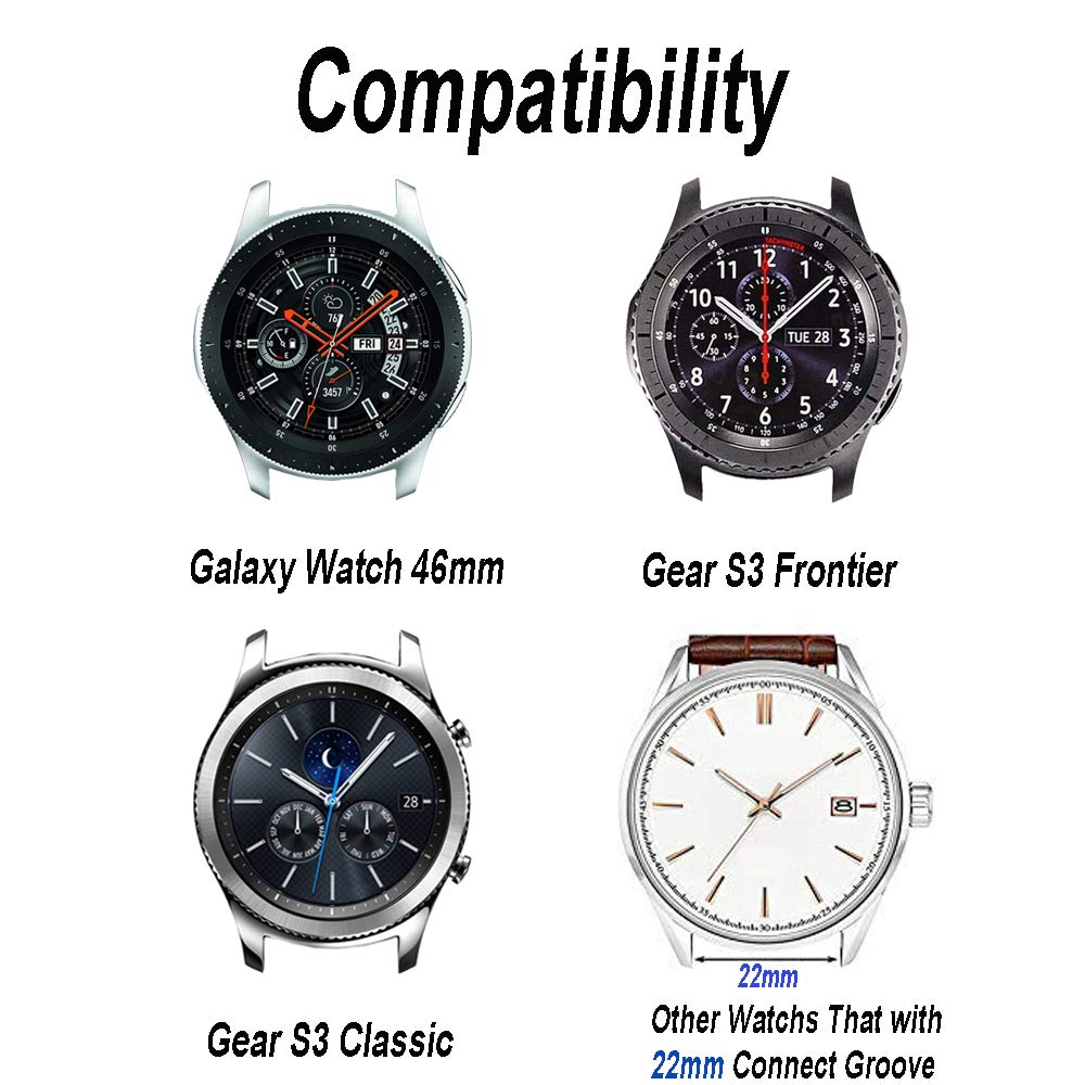 LitoDream Compatible Galaxy Watch 46mm/Gear S3 Frontier/Classic Bands Nylon, 22mm Quick Release Nylon NATO Band Soft Strap Wristband for Samsung ...