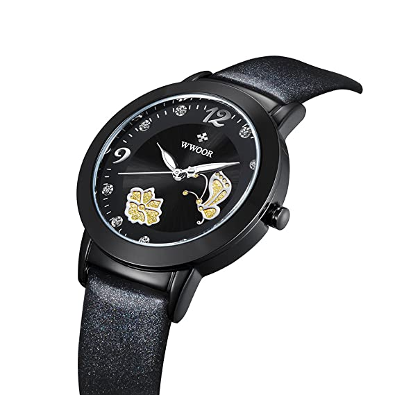 Mariposa Flor Mujeres Relojes quartz-watch Vintage impermeable reloj wr0005black