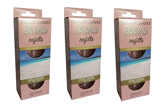 3 X Yankee Candle Scent Plug In Air Freshener Refills Pink Sands