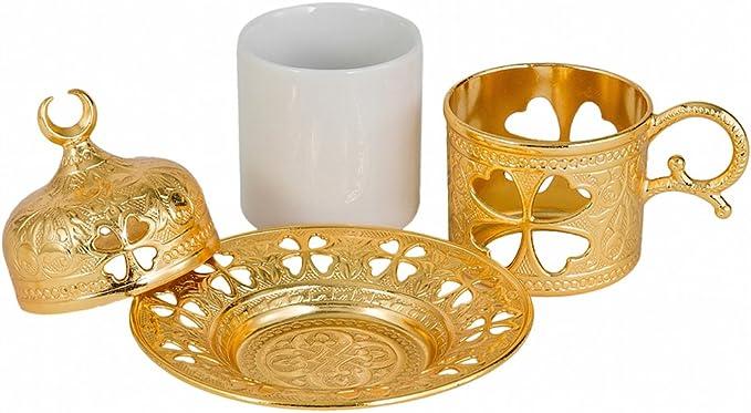 soporte de metal Taza de caf/é turca con interior de porcelana platillo y tapa Cobre envejecido porcelana metal 1