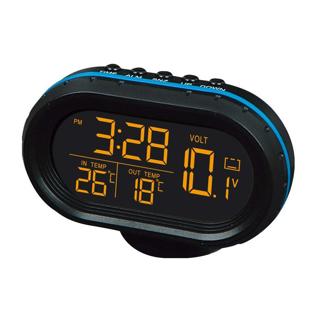 Yaoaomitn Voltmetro per Auto Orologio Temperatura Termometro per Auto Orologio elettronico Night Light Blue /& Orange
