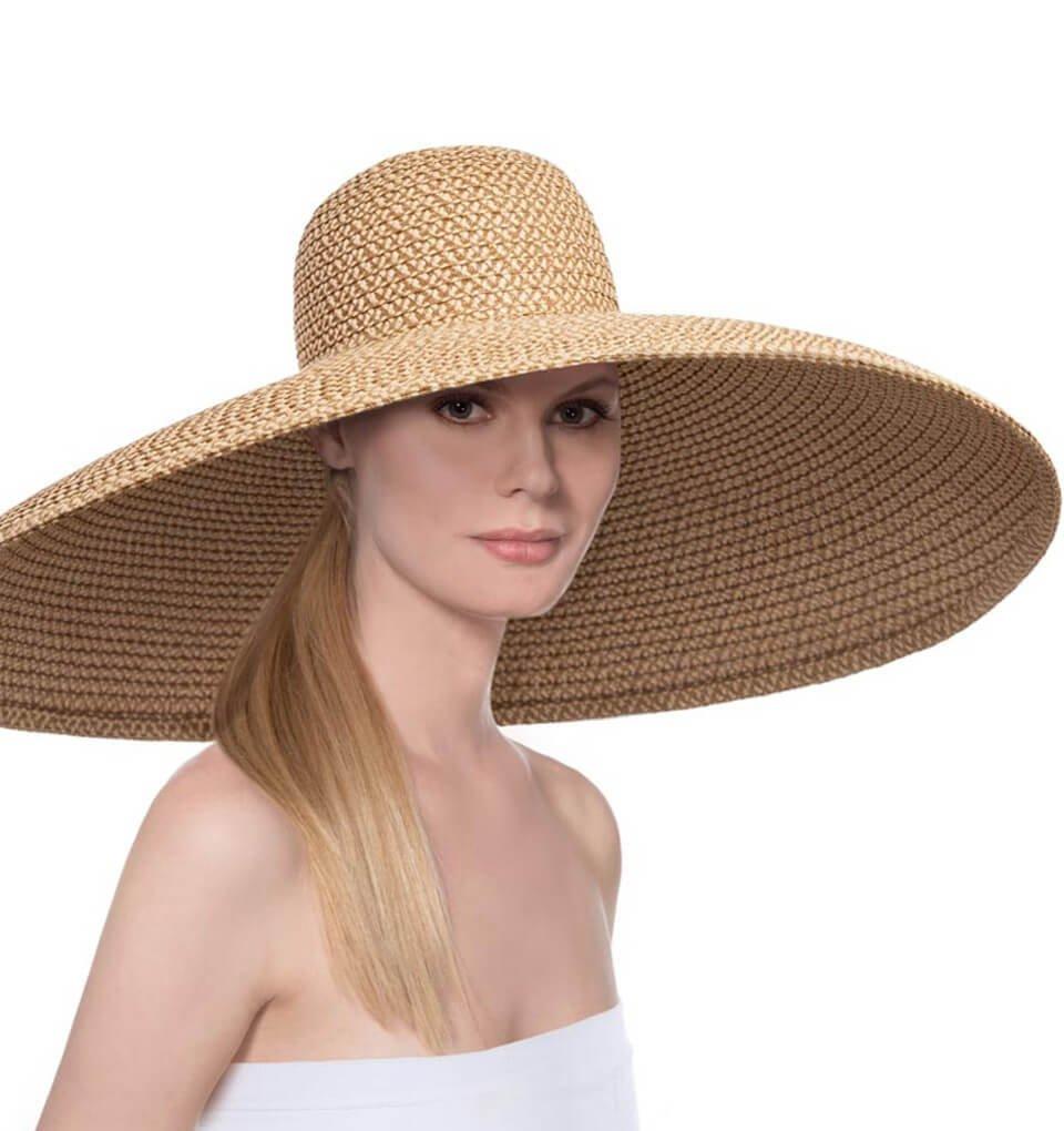 Eric Javits Luxury Fashion Designer Women's Headwear Hat - Giant Floppy - Peanut by Eric Javits