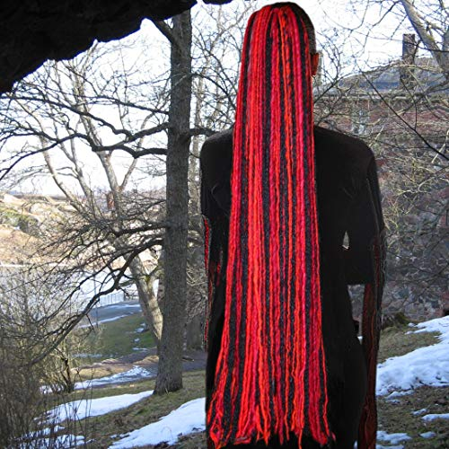 Red & Black Yarn Dreadlocks 36 inches long Gothic Witch hair extensions Steampunk pirate dreads hair piece Larp costume hair Renfaire Renaissance dreadlocks ()