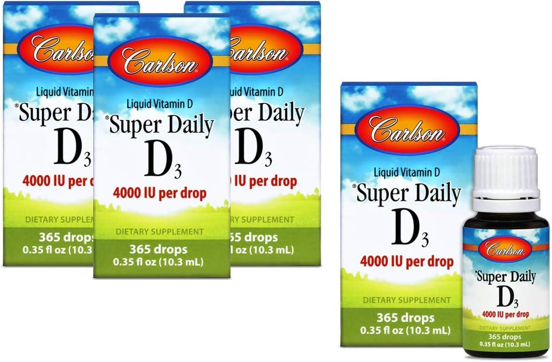 Carlson - Super Daily D3, 4000 IU (100 mcg) per Drop, Heart & Immune Health, Liquid Vitamin D3, Unflavored, 365 Drops (4 Pack)