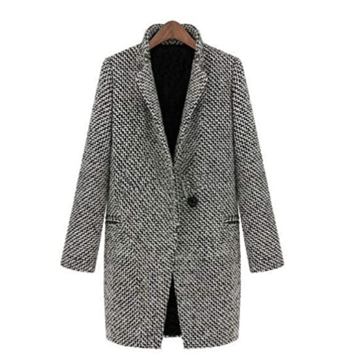 38adf5e184620 Amazon.com  Casual Long Sleeve Classic Houndstooth Button Coat Outerwear  for Women  Clothing