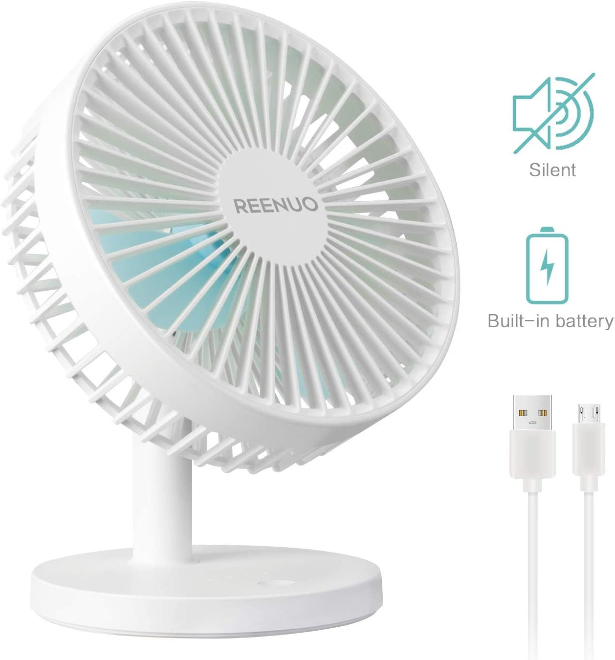 REENUO Table Fan Super Quiet 7 Inch Desk Fan,3 Speeds Rechargeable Battery Powered USB Fan for Office,Home,Travel,Camping White