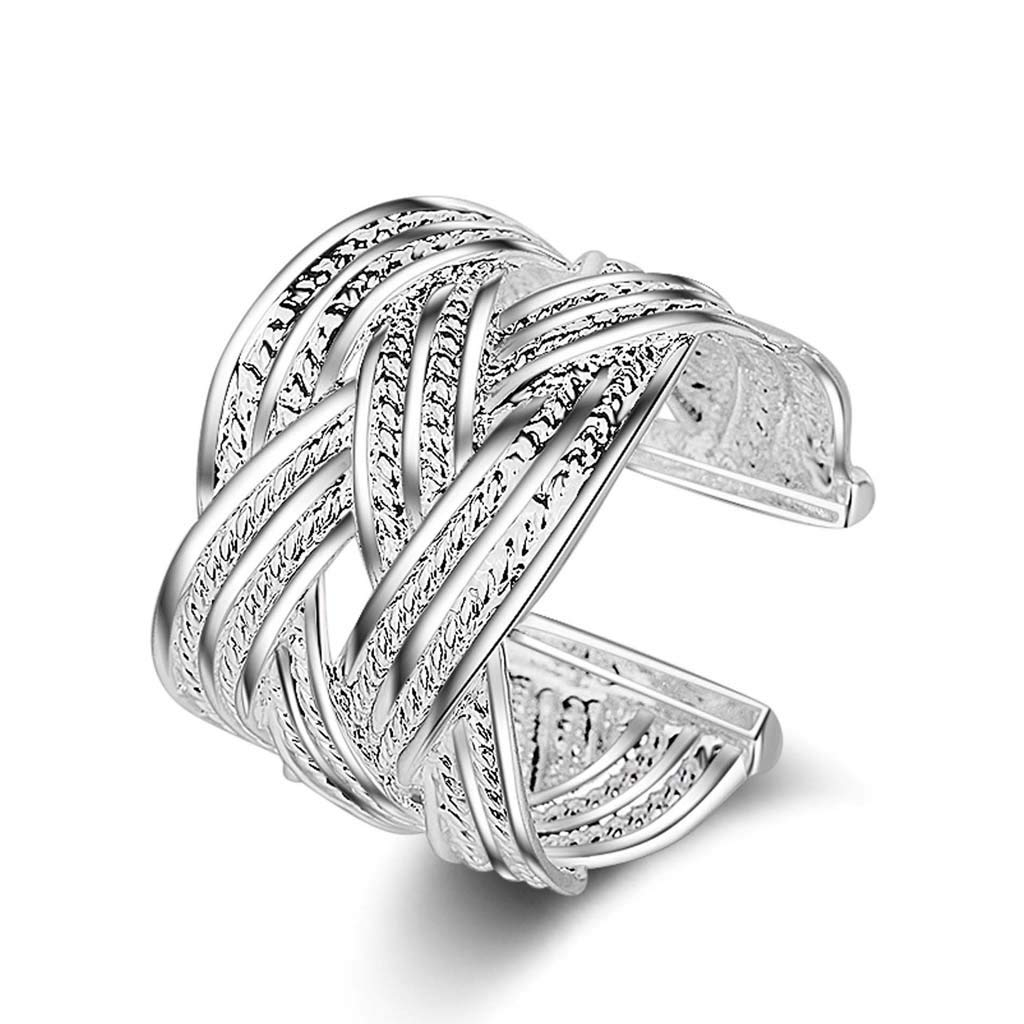 925 Silver Ring, Fashion Retro Ethnic Style Large mesh Ring Jewelry (Silver) by Liu Weiqin